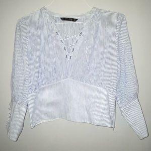 Zara basic cropped blouse